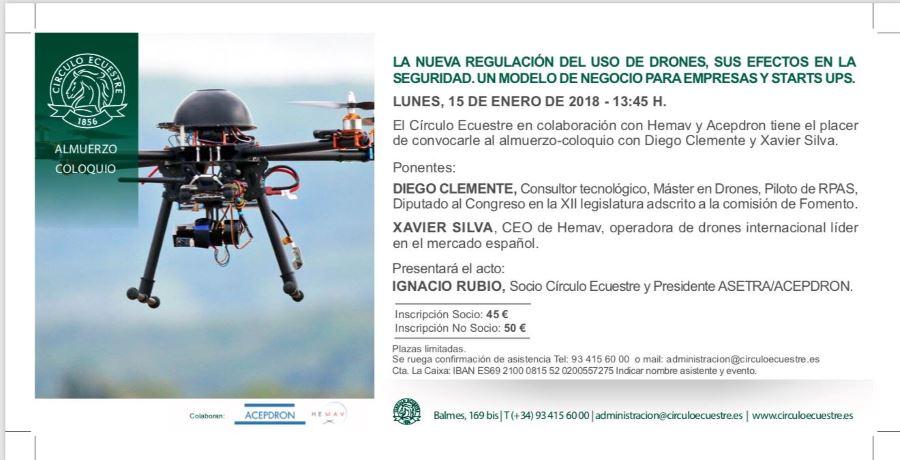 Conferencia sobre la nueva ley de Drones en Barcelona. Invitación